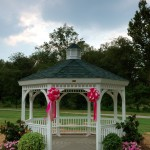 Gazebo decorated with bows