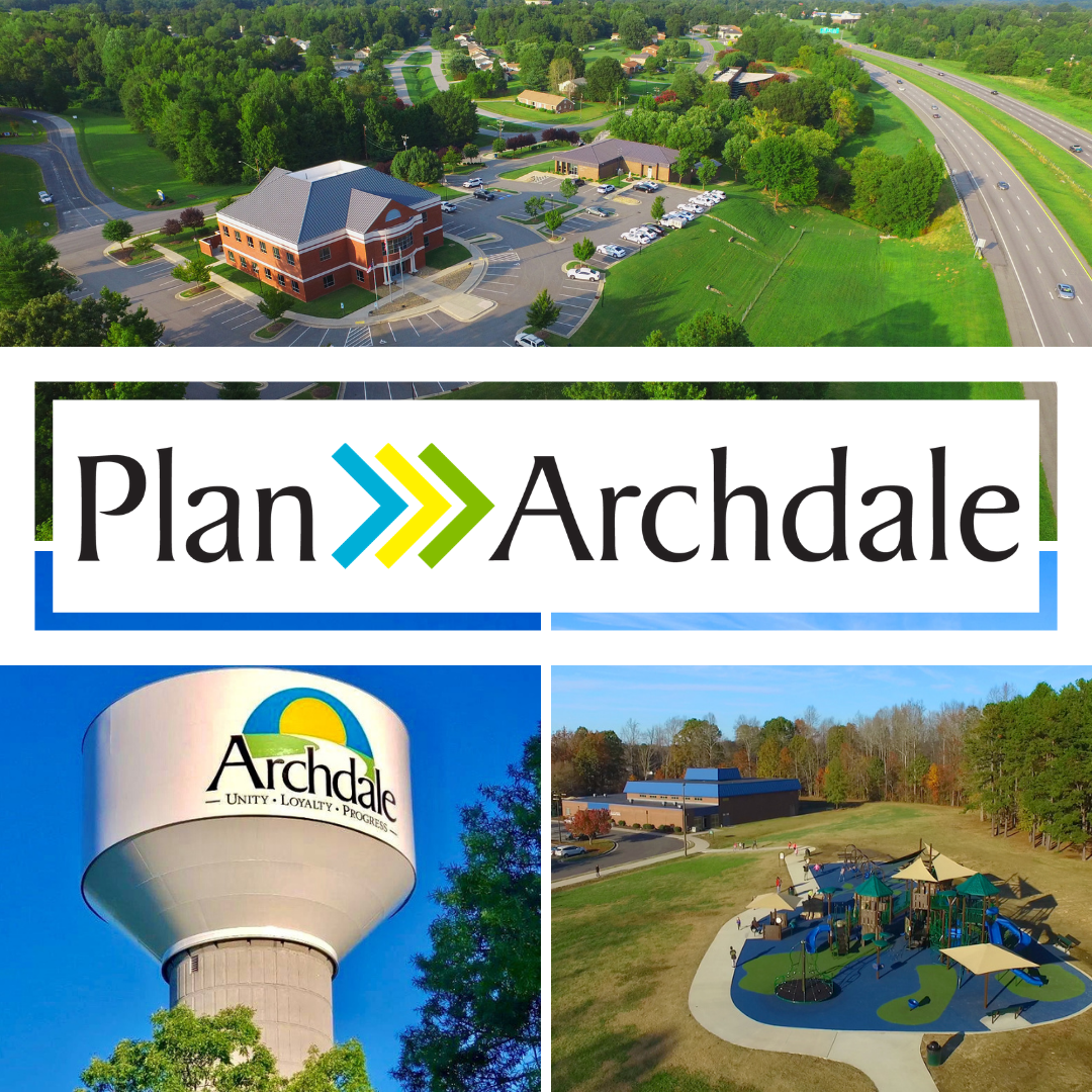Plan Archdale water tower, Creekside Park, and City Hall
